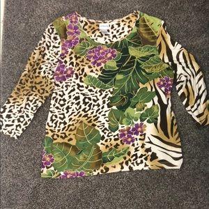 Chico's Animal/Floral print shirt